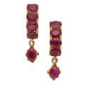 Estate Jewelry:Earrings, Ruby, Gold Earrings. ...