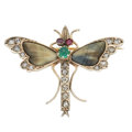 Estate Jewelry:Brooches - Pins, Antique Diamond, Multi-Stone, Gold, Silver-Topped Yellow MetalBrooch. ...