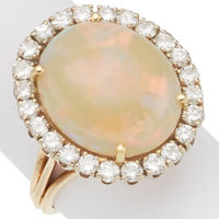 Opal, Diamond, Gold Ring
