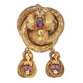 Estate Jewelry:Brooches - Pins, Antique Amethyst, Quartz, Gold Brooch. ...