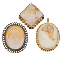Shell Cameo, Diamond, Gold, Sterling Silver, Gold-Filled Jewelry