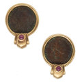 Estate Jewelry:Earrings, Ancient Coin, Ruby, Gold Earrings. ...