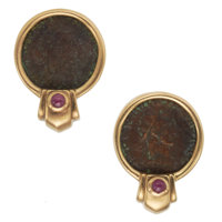 Ancient Coin, Ruby, Gold Earrings