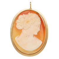 Antique Shell Cameo, Gold Pendant-Brooch