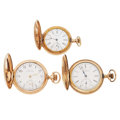 Timepieces:Pocket (post 1900), Two Waltham's & Elgin Hunter Cases Pocket Watches. ... (Total: 3 Items)