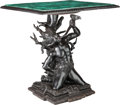 Furniture : Continental, A Venetian-Style Malachite and Ebonized Wood Figural Table, 20th century. 36 inches high x 33-1/2 inches wide x 30-1/2 inche...
