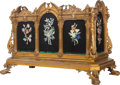 Decorative Arts, French, A Gilt Bronze and Pietra Dura Jardinière with Liner and Cover, 19thcentury in part. 22-1/2 inches high x 34 inches wide x 1...