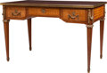 Furniture : French, A Louis XVI-Style Walnut Parquetry Bureau Plat with Gilt BronzeMounts and Tooled Leather Top, late 19th century. 28-1/2 inc...