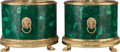 Decorative Arts, French, A Pair of Neoclassical Malachite Veneered and Gilt BronzeJardinières, 20th century. 11 inches high x 13-1/2 inchesdiameter... (Total: 2 Items)