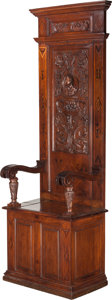 Furniture : Continental, A Baroque Style Inlaid Walnut Hall Chair, 19th century in part.87-1/2 inches high x 29 inches wide x 20 inches deep (222.3 ...