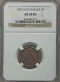 Mozambique: Portuguese Colony. Maria II 2 Reis 1853 AU58 Brown NGC