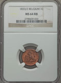Belgium, Belgium: Leopold I Centime 1833/2 MS64 Red and Brown NGC,...