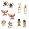 Estate Jewelry:Lots, Lot of Multi-Stone, Diamond, Platinum, Gold Earrings. ...