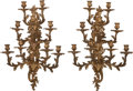 Lighting:Sconces, A Pair of Louis XV-Style Gilt Bronze Nine-Light Sconces, circa 1865. 28 inches high (71.1 cm). ... (Total: 2 Items)