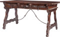 Furniture : Continental, A Baroque-Style Walnut and Wrought Iron Three-Drawer Trestle Table,18th century in part. 31-1/2 inches high x 59 inches wid...
