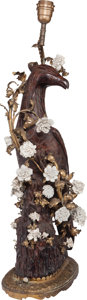 Decorative Arts, Continental:Lamps & Lighting, A Continental Plaster Falcon-Form Lamp with Porcelain and GiltBronze Mounts, 20th century. 24-3/4 inches high (62.9 cm) (ex...