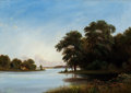 Paintings, Axel Thorsen Schovelin (Danish, 1827-1893). Summer by the Lake, 1872. Oil on canvas. 12-1/2 x 17-3/4 inches (31.8 x 45.1...