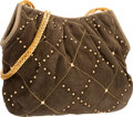 """Luxury Accessories:Accessories, Judith Leiber Green Karung & Suede Bag with Gold Hardware.Good to Very Good Condition. 11"""" Width x 9"""" Height x 2""""Dep..."""