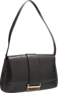 """Luxury Accessories:Accessories, Judith Leiber Black Leather Shoulder Bag with Gold Hardware.Good to Very Good Condition. 14"""" Width x 9"""" Height x 1""""D..."""