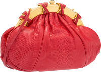 "Judith Leiber Red Karung Shoulder Bag with Gold Hardware Good Condition 10"" Width x 7"" Height x 1"