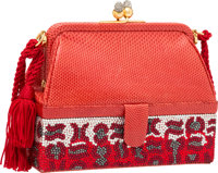 "Judith Leiber Red Karung & Crystal Evening Bag with Gold Hardware Good Condition 6"" Width x 5"" He"