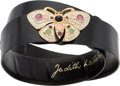 "Luxury Accessories:Accessories, Judith Leiber Black Karung & Semiprecious Stone Butterfly Beltwith Gold Hardware. Excellent Condition. 1"" Width x34""..."