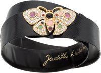 Judith Leiber Black Karung & Semiprecious Stone Butterfly Belt with Gold Hardware Excellent Condition