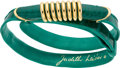 "Luxury Accessories:Accessories, Judith Leiber Shiny Green Alligator & Leather Tube Belt withGold Hardware. Very Good Condition. .5"" Width x 34""Lengt..."