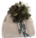 "Luxury Accessories:Bags, Judith Leiber Gray Satin Evening Bag with Green Floral Detail. Very Good Condition. 7"" Width x 6.5"" Height x 2"" Depth..."