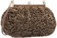 Judith Leiber Brown Marbled Rabbit Fur & Silver Crystal Shoulder Bag with Silver Hardware Very Good Condition&lt...