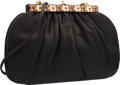 """Luxury Accessories:Bags, Judith Leiber Black Satin Evening Bag. Excellent Condition.10"""" Width x 6.5"""" Height x 2"""" Depth. ..."""