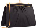 "Luxury Accessories:Bags, Judith Leiber Black Satin Evening Bag. Excellent Condition.7.25"" Width x 5"" Height x 2"" Depth. ..."