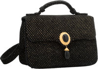 "Judith Leiber Black & Gold Suede Evening Bag Excellent Condition 6.5"" Width x 4.25"" Height x 2.25"