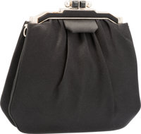 """Judith Leiber Black Satin Evening Bag with Silver Hardware Very Good Condition 7"""" Width x 7"""" Heig"""