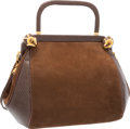 """Luxury Accessories:Accessories, Judith Leiber Brown Karung & Suede Shoulder Bag with GoldHardware. Very Good Condition. 8"""" Width x 6"""" Height x 3""""Dep..."""