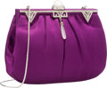 "Luxury Accessories:Accessories, Judith Leiber Purple Satin & Silver Crystal Evening Bag withSilver Hardware. Very Good to Excellent Condition. 7""Wid..."