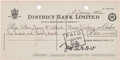 Music Memorabilia:Autographs and Signed Items, Beatles: John Lennon Signed Check (1972)....