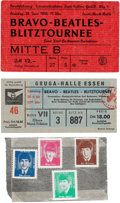 Music Memorabilia:Tickets, Beatles - Two German Ticket Stubs and Set of Four German Stamps(1966)....