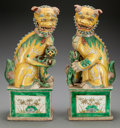 Asian:Chinese, A Pair of Chinese Kangxi-Style Famille Verte Foo Dogs. 17-1/2inches high (44.5 cm). ... (Total: 2 Items)