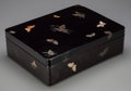 Asian:Japanese, A Japanese Lacquered Box with Brass, Bone, Agate andMother-of-Pearl Inlay, 20th century. 4-1/2 inches high x 15 incheswide...