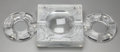 Art Glass:Lalique, Three Lalique Clear and Frosted Glass Ashtrays, post 1945. Marks to all: Lalique, France. 7-3/4 inches wide (19.7 cm) (l... (Total: 3 Items)