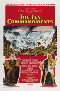 "The Ten Commandments (Paramount, 1956) One Sheet (27"" X 41""). Syle A. Beautiful poster for Cecil B. DeMille's..."