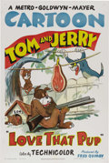 "Movie Posters:Animated, Love That Pup (MGM, 1949). One Sheet (27"" X 41""). Joseph Barberaand William Hanna hit their stride with the ""Tom and Jerry""..."