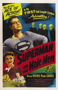 "Superman and the Mole Men (Lippert, 1951). One Sheet (27"" X 41""). George Reeves played the Man of Steel from 1..."