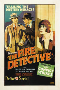 """The Fire Detective (Pathe', 1929). One Sheet (27"""" X 41""""). Gladys McConell and Hugh Allan star in one of Path&e..."""