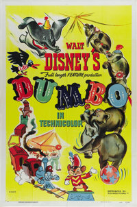 "Dumbo (RKO, 1941). One Sheet (27"" X 41"") Style A. Offered in this lot is the very rare one sheet to this class..."
