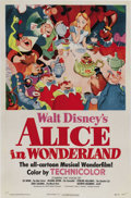 "Movie Posters:Animated, Alice in Wonderland (RKO, 1951). One Sheet (27"" X 41""). After WorldWar II, when Disney was making features out of compiled ..."