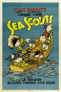 "Sea Scouts (RKO, 1939). One Sheet (27"" X 41""). Rare and beautiful Walt Disney poster shows Donald Duck as &quo..."