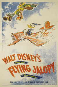 "Flying Jalopy (RKO, 1943). One Sheet (27"" X 41""). Donald Duck takes a beater of a plane out for a test fly. Th..."