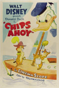 "Movie Posters:Animated, Chips Ahoy (RKO, 1956). One Sheet (27"" X 41""). Chip and Dale, thechipmunks who plague Donald Duck in many classic cartoons ..."